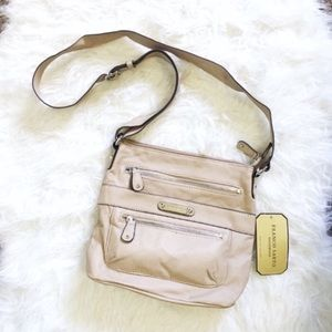 NWT Franco Sarto nude double zip crossbody bag
